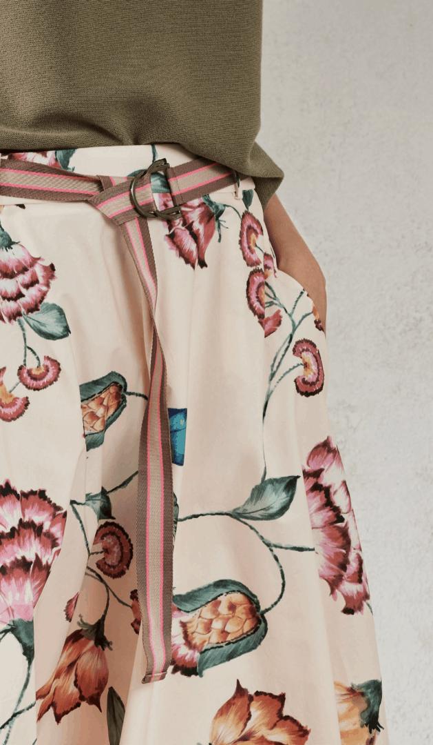halflange wijdvallende rok met bloemenprint luisa cerano tineb oudenaarde damesmode