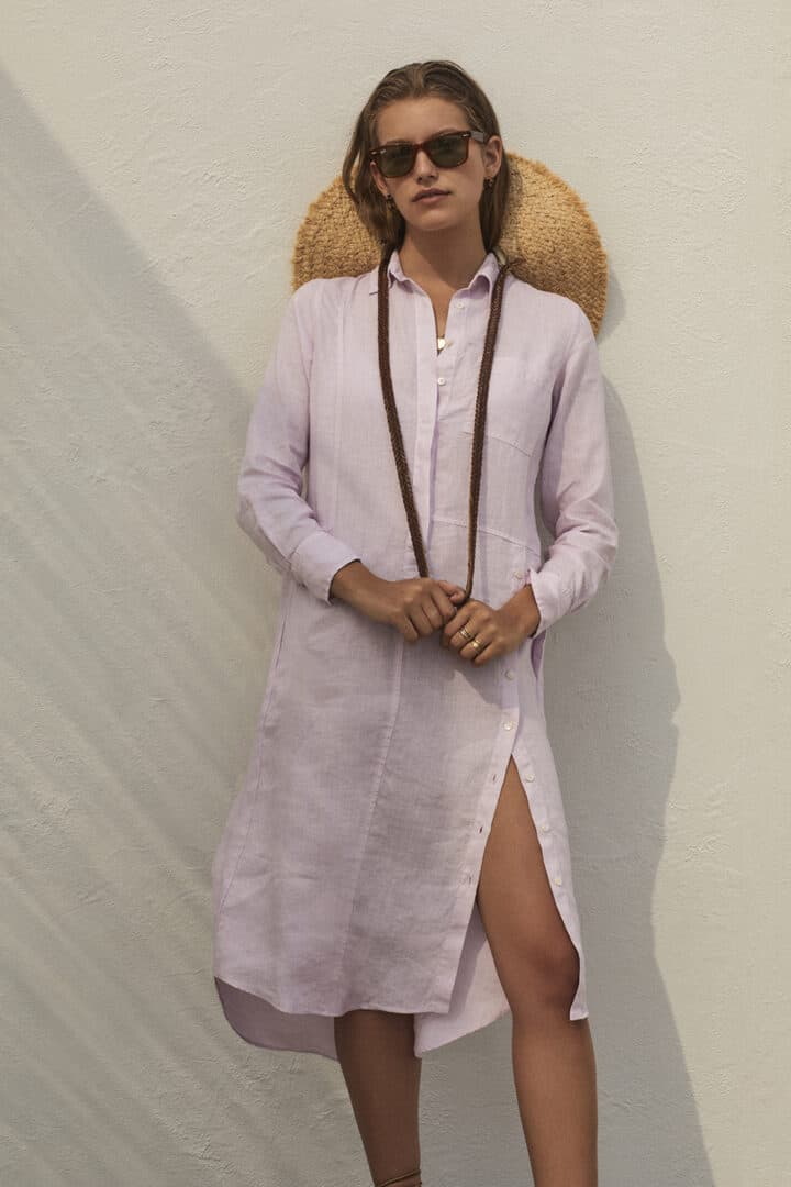 linnen jurk met kraagje in lila rosso35 tineb oudenaarde damesmode