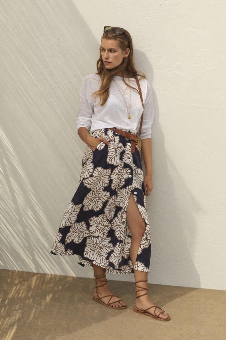 linnen rok met bladprint rosso35 tineb oudenaarde damesmode