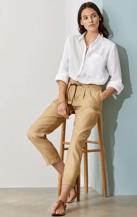 witte bloes linnen op canvas camel pantalon brax tineb oudenaarde damesmode