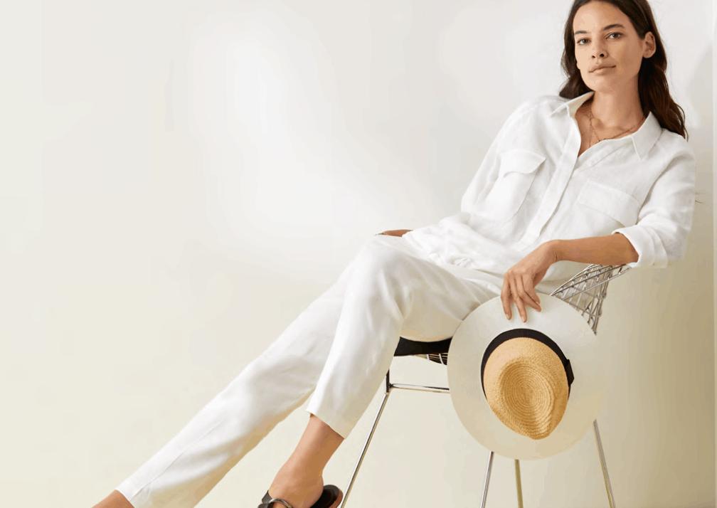 witte linnen bloes op linnen pantalon brax tineb oudenaarde damesmode