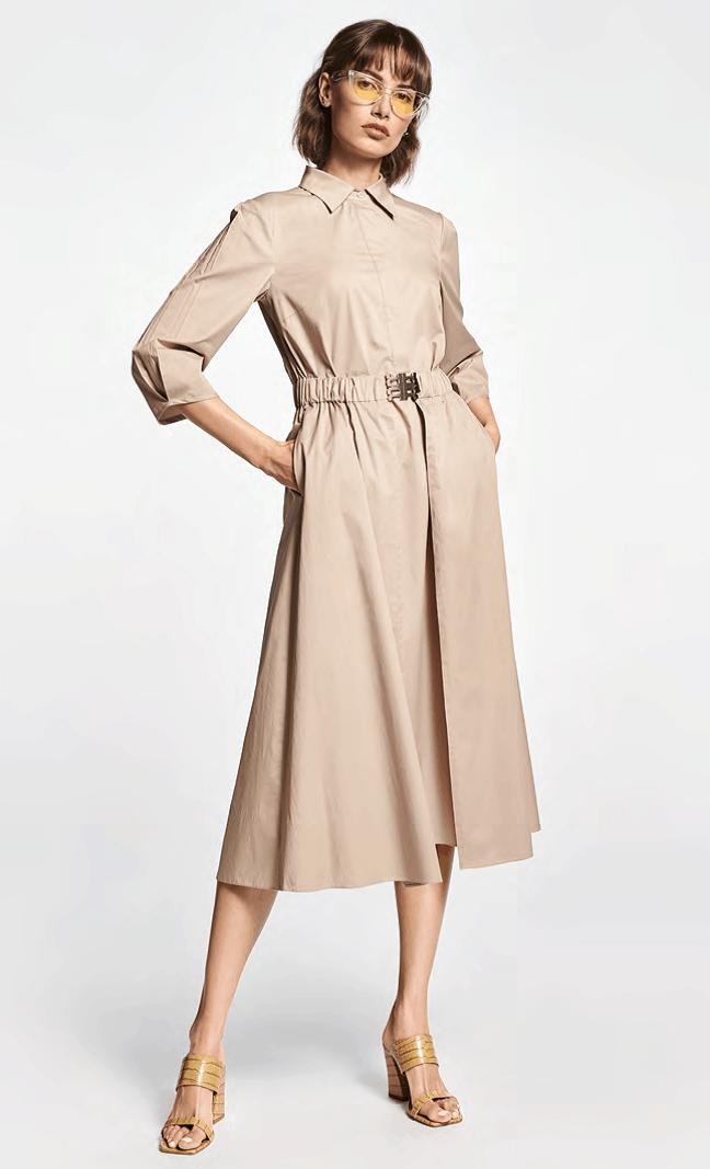 zandkleurige jurk met kraag in stretchkatoen tineb oudenaarde damesmode