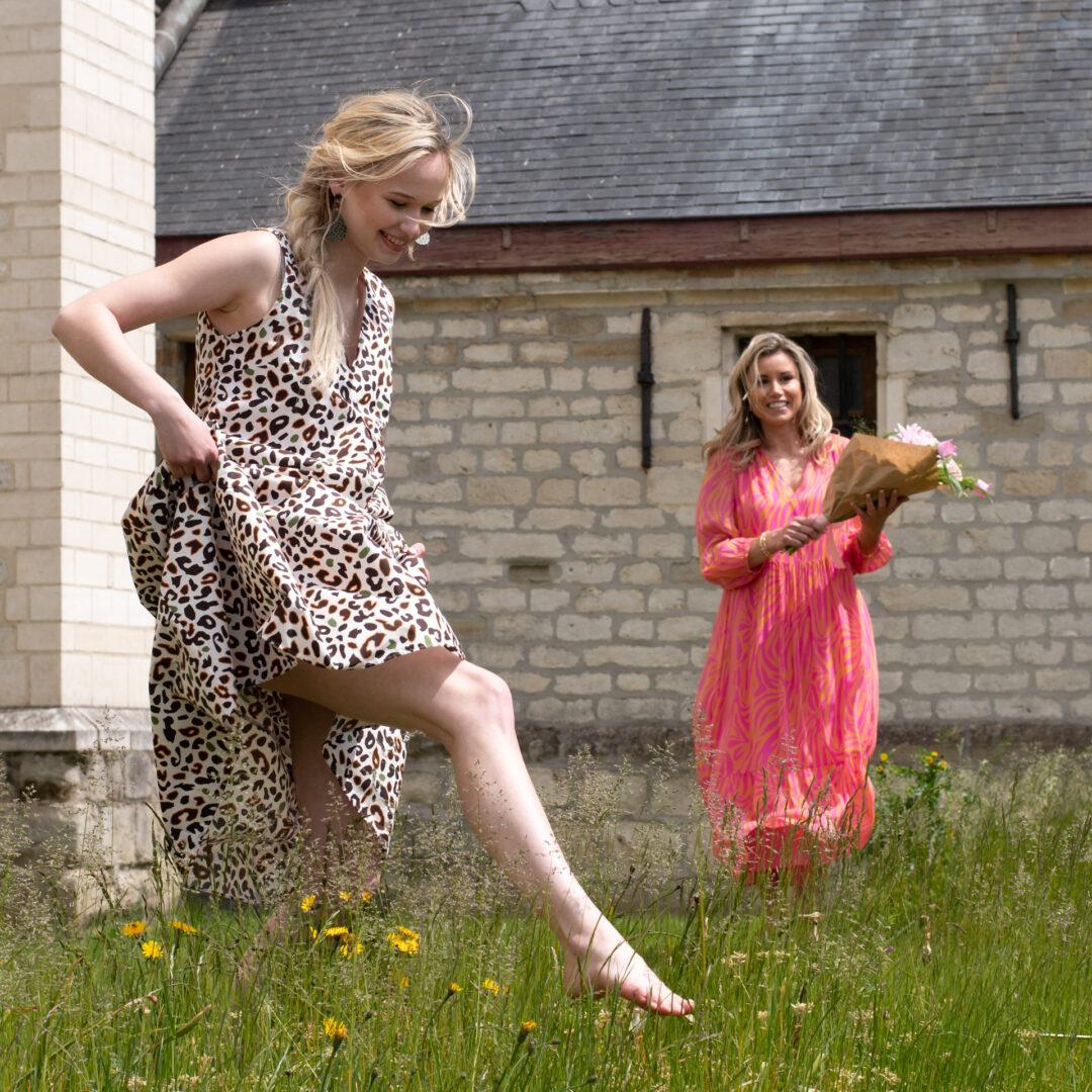 zomerjurk camouflage caliban print zijde jurk luisa cerano tineb oudenaarde damesmode
