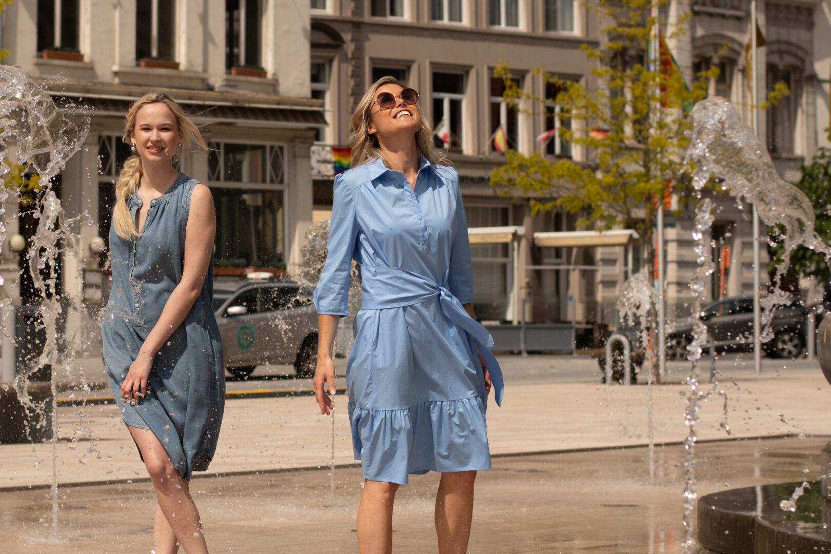 zomerjurk jeans mouwloos gustav lichtblauwe jurk riani tineb oudenaarde damesmode