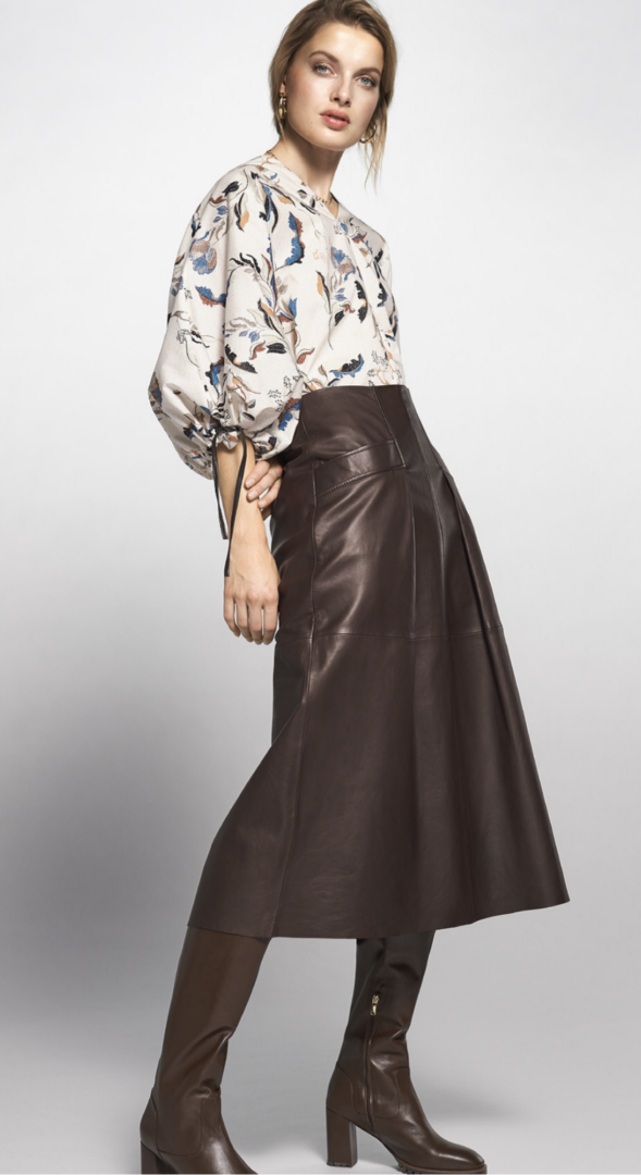 Trends Print bloes ecoleder chocoladebruine rok Riani