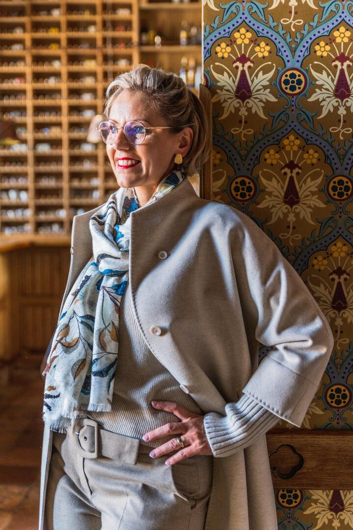 greige jas wol met tricot manchet cinzia rocca 100 tineb oudenaarde damesmode